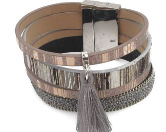 Metallic leather Magnetic Bracelet with tassel