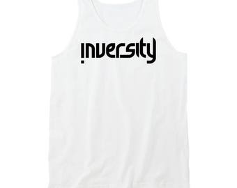 Inversity Tank Top White- Black Logo
