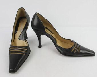 VINTAGE Pumps MINELLI all leather black T 36