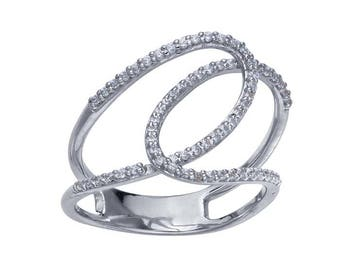 14-karat white gold ring features two interlocking loops that are set with 66 .5-pt. single-cut diamonds