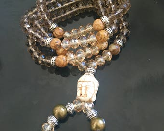 Beaded crystals and petrified wood Necklace