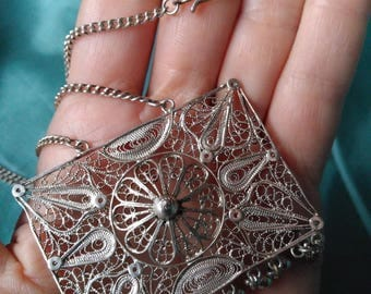 Vintage Filigree Sterling Silver pendant necklace