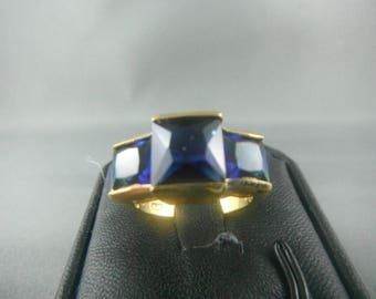 Blue Lab Sapphire 18 KGP Size 8 Women Ring