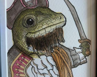 ORIGINAL ART - the Gecko Pirate - Watercolour and Ink