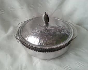 Pyrex and aluminum casserole serving dish vintage 1950's