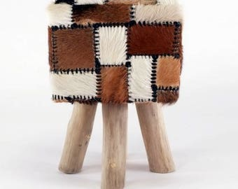 Coat stools made of goat fur square with wooden feet, brown white black tricolor