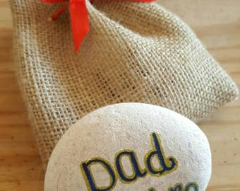 Dad grandad my hero personalised  beach pebble with gift bag unique gift fathers day birthday Christmas
