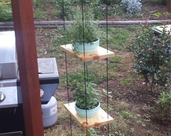 Vertical 4 tier hanging herb garden. Indoor or outdoor