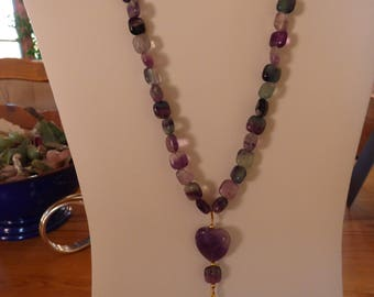 Ametrine bead necklace with heart shaped amethyst pendant
