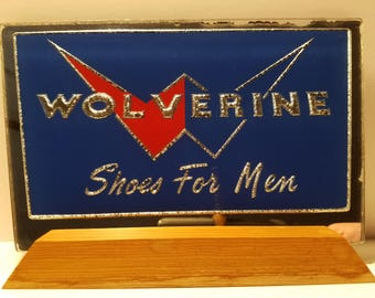 Vintage Wolverine shoes advertising window sales sign plaque mirrored glass blue red