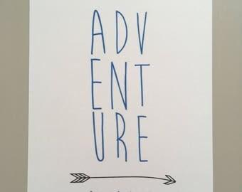 Adventure awaits-Blue-Set of 4 A5 prints