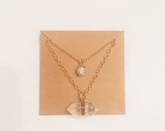 Double layer Gold/charm necklace