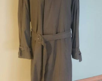VTG Burberrys of London Olive Belted Trench Coat with Removable Zippered Lining