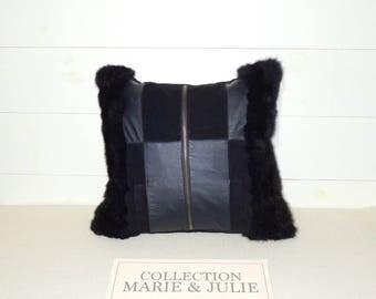 Possum and leather cushion