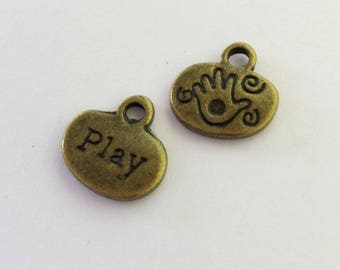 Antiqued Bronze PLAY Charms 13mm  Inspirational Word