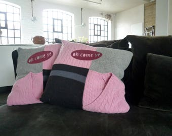 Christmas jumper cushions 'Oh come ye'