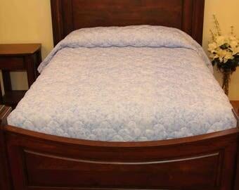 Soft Blue Ruffled Quilt
