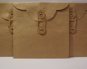 3 Kraft Circle Tie Close Envelopes 5.75 X 5.75 inches / Square
