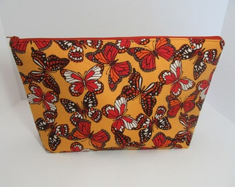 monarch butterfly large zippered crochet or knitting project bag roomy wedge bag holds adult coloring book or one pound yarn skein - Coloring Book Yarns