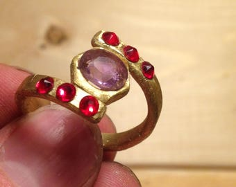 Hand-made brass ring with Amethyst