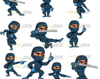 80% off Promo sale,Super Ninja clipart  – Full Body Character Design digital clipart set,clipart commercial use, vector graphics,