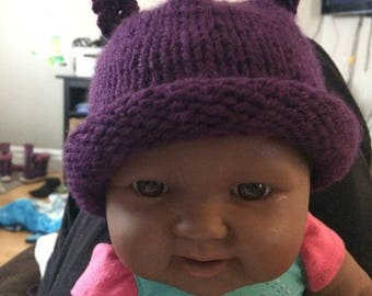 Hand Made Knit Hat 0-3m