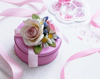 Casket with flowers. Jewelry box. Gift for the girl. Шкатулка с цветами.