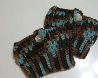 Brown/Blue Boot Cuffs Boot Toppers Leg Warmers