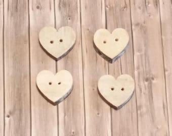 Wooden Buttons, Heart Buttons, Wood,   24x 21mm, 4 pieces,