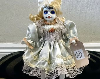 Hand Painted Horror Day of the Dead Sugar Skull Porcelain Doll Seated