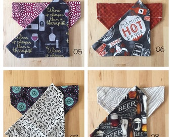 Handmade reversible collar scarf -- patterns 05 - 08