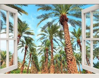 Tropical Beach Wall Decal, Palm Trees Wall Decal, 3d Window Wall Decal,  Beach