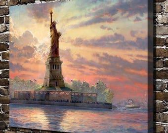 Statue Of Liberty, Thomas Kinkade Framed Canvas Wall Art