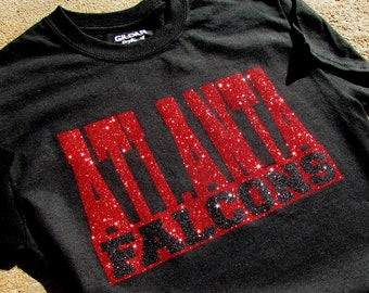 Atlanta Falcons Glitzy Bling Black T-Shirt with Brilliant Sparkling Red and Black High Sparkle Glitter  on a Black Shirt