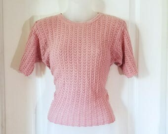 """XS Pink Knitted Top - Vintage """"PETITE SOPHISTICATE"""""""