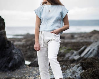 Linen Rectangle Cropped Top