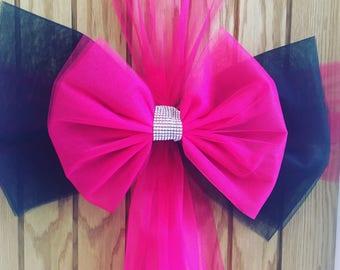 Giant Luxury Pink and Black Door Bow