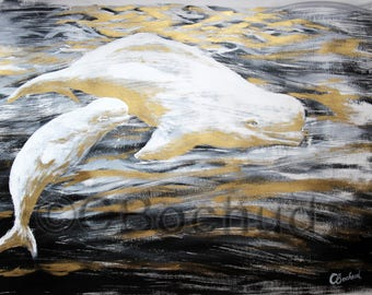 Belugas, paint, ink and gouache gold, original, painting, animal, nature