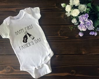 Happy First Father's Day Onesie | Custom T Shirt | Create Your Own T Shirt | Custom Sayings | Graphic Tees | T Shirts | Slogan T Shirt