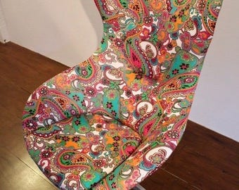 Paisley Print re-upholstered tall wingback chair