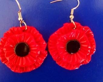 poppies-earrings, polymer clay, flower-earrings