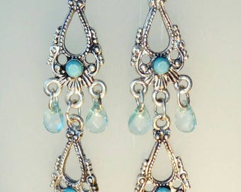 Antique sterling silver turquoise and blue peridot chandelier earrings.