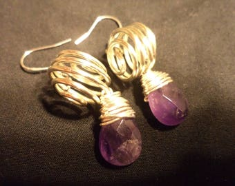 silver plated copper wire earrings with Amethyst