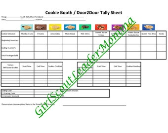 Girl Scout Cookie Booth/Door to Door Tally Sheet & Thank You Notes