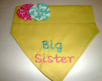 Dog Bandana, Big Sister, Gender Reveal,  Flower, Over the Collar, Baby Gift , Scarf, Baby Announcement, dog gift, dog lover gift, Big Sis