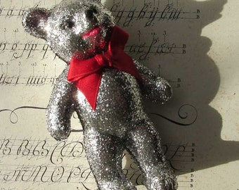 Ino Schaller Glitter Bear Teddy Bear Vintage Christmas Germany