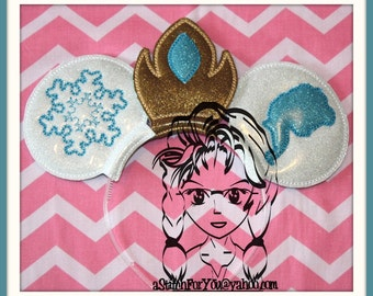 ICe QUEEN PrinCESS Inspired Character (3 Piece Set) ~ ITH Mr Miss Mouse Ears Headband ~ INSTaNT Download Machine Embroidery Design by Carrie