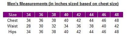Mens measurements chart chest - uk sizes