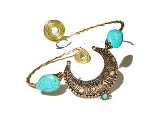 Turquoise brass ethnic bohemian upper arm bracelet armlet