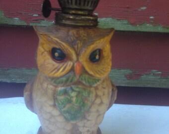 Owl Hurricane Oil Lamp 1960s Vintage Retro Kitsch 1970s